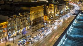 Night traffic on the urban thoroughfare   and road junction. Time lapse ,moscow stock video footage