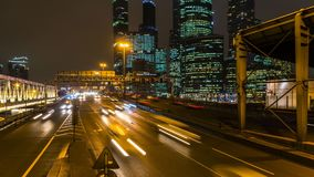 Night traffic on the urban thoroughfare   and road junction. Night traffic on the urban thoroughfare and road junction ,time lapse,moscow stock footage