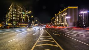 Night traffic on the urban thoroughfare   and road junction. Time lapse, moscow stock video footage