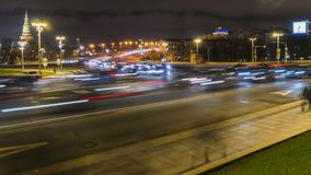 Night traffic on the urban thoroughfare   and road junction. Time lapse, moscow stock video