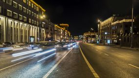 Night traffic on the urban thoroughfare   and road junction. Time lapse, moscow stock footage