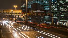 Night traffic on the urban thoroughfare   and road junction. Night traffic on the urban thoroughfare and road junction ,time lapse,moscow stock video
