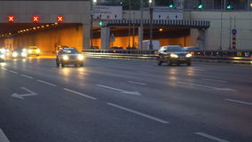 Night traffic on the urban thoroughfare tunnel and road junction