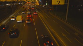 Night traffic on the urban thoroughfare  tunnel and road junction. Moscow stock footage