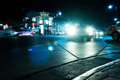 Night Traffic. Vehicles passing through the center of the city of Tijuana in at night Royalty Free Stock Photos