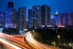 Night traffic on the viaduct Stock Image