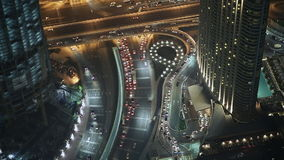 Night traffic. The view from the tallest building. Dubai. Night traffic. The view from the tallest building. Dubai stock video footage