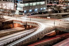 Night traffic in the West Loop at Randolph Street. Main streets in Chicago. Long exposure royalty free stock photo