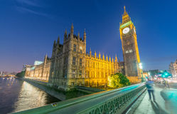 Night traffic on Westminster Bridge and Big Ben Royalty Free Stock Image