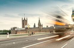 Night traffic on Westminster Bridge and Big Ben Stock Photos
