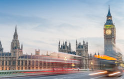 Night traffic on Westminster Bridge and Big Ben Royalty Free Stock Images