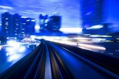 Night traffics. Motion blurred urban night traffics view Stock Photos