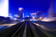 Night traffics. Motion blurred urban night traffics view Stock Images