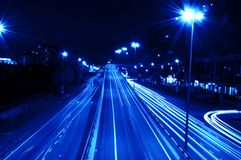 Night traffics. Long exposure of urban night traffics in dusk Stock Photos