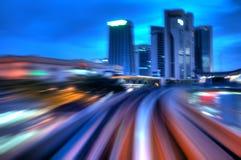 Night traffics. Motion blurred urban night traffics view Stock Photo