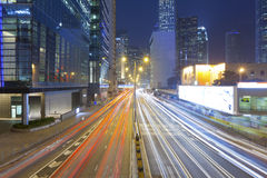 Night Trails At Night In Hong Kong Royalty Free Stock Images