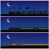 Night train. Old vintage and modern train in the night Stock Photography