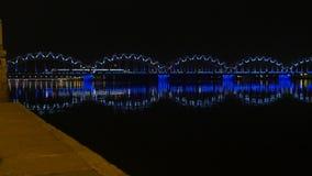 Night train on the bridge, 4K. Native video stock video footage