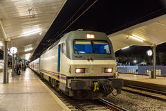 A night train at the Girona station. Spain Stock Photography