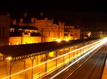 Night Train. The historic train station in Skierniewice in a night scene Royalty Free Stock Image