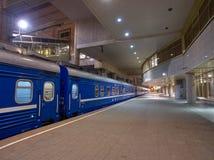 Night Train Minsk-Moscow on a Platform of Minsk Station, Capital of Belarus Stock Photo