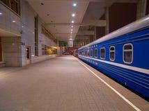 Night Train Minsk-Moscow on a Platform of Minsk Station, Capital of Belarus Royalty Free Stock Photo