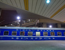 Night Train Minsk-Moscow on a Platform of Minsk Station, Capital of Belarus Stock Image