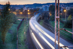 Night train in motion Royalty Free Stock Image