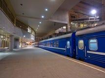 Night Train on a the Platform big Station Royalty Free Stock Photo