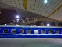 Night Train on a Platform Royalty Free Stock Photo