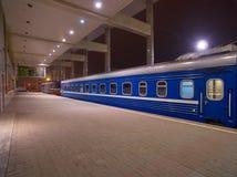 Night Train on a Platform Stock Photography
