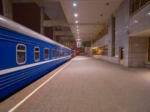 Night Train on a Platform Royalty Free Stock Photos