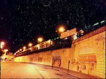 Night train. Rain Royalty Free Stock Images