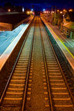 Night train station. Railway in Athenry train station at night Stock Images