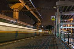 Night train station in the city Royalty Free Stock Images