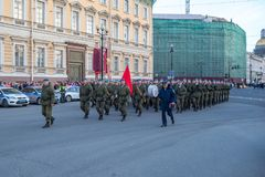 Night training of the Victory Parade on Palace Square in St. Petersburg Stock Photo