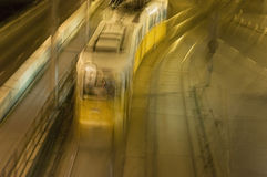 Night tram at Budapest, Hungary. Night tram in motion blur at Budapest, Hungary Royalty Free Stock Image