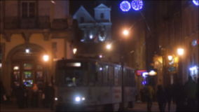Night tram transport lantern in snow stock video footage