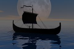 Night travel. 3d render illustration of a sailing boat traveling at night royalty free illustration