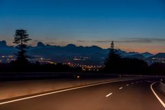 Night trip with a beautiful view of the city lights stock images