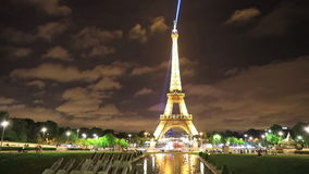 Night Trocadero Gardens. PARIS, FRANCE - JULY 2, 2017: Night lights in Trocadero gardens with fountains and tourists. French capital of Europe with lit Eiffel stock footage