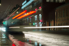 Night trolley with long exposure Royalty Free Stock Image