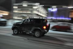 Night Tula. A blurry photo. Car movement. The photographer`s vision. Night traffic royalty free stock photo