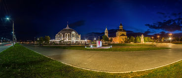 Night Tula wide angle view Arms Museum and Demidov monument and Stock Photography