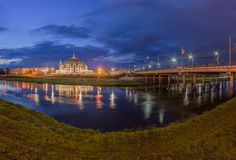 Night Tula wide angle view on Upa river and Arms Museum. Night Tula wide angle panoramic viewon Upa river, Arms Museum and bridge. Photo taken in may 2016 Royalty Free Stock Images