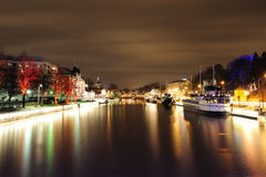 Night in Turku. View to the Aura river in Turku at night Stock Images