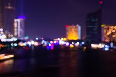 Night twilight blurred light bokeh in downtown bangkok abstract background.  stock photos