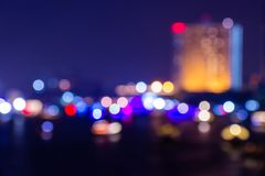 Night twilight blurred light bokeh in downtown bangkok abstract background.  stock images