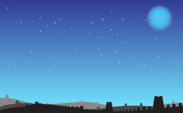 Night under the Great Wall. Under the clear blue sky is cold the Great Wall royalty free illustration