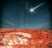 At night, under the light of stars. Royalty Free Stock Photography